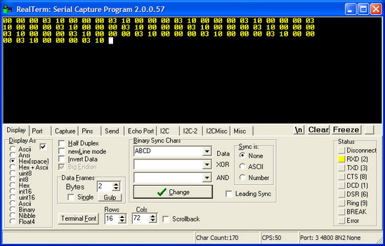 Debugging the RS232 serial port