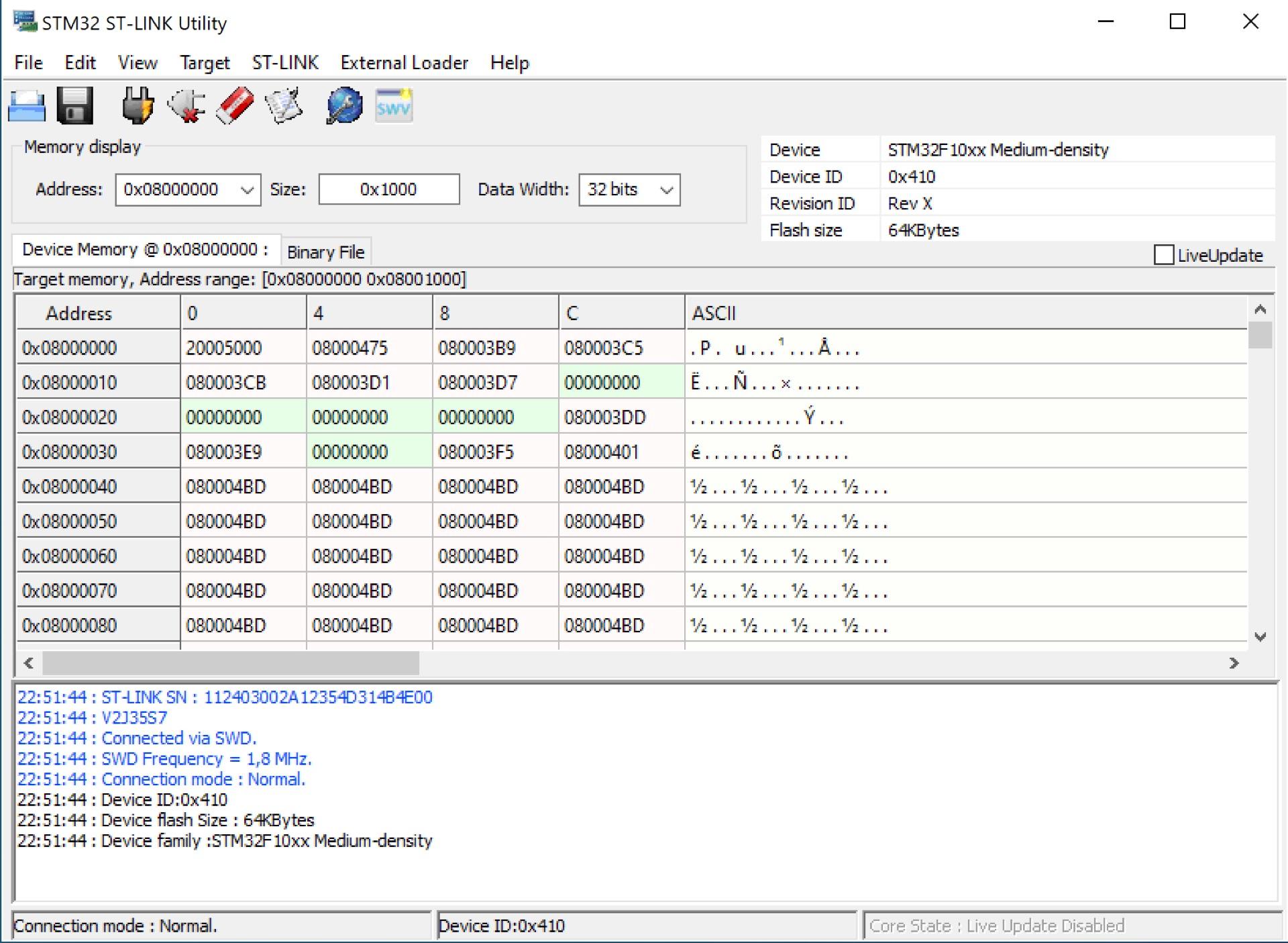 Figure 2: Screenshot of the STM32 ST-Link Utility