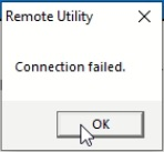 Screenshot with the error message from icom rs-ba1 showing 'connection failed'