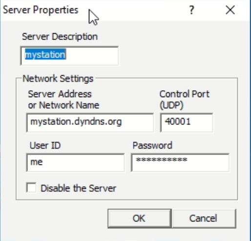 A Screenshot showing the available parameters for a RSBA1 server