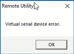 A Screenshot showing the text of the rs-ba1 error message 'Virtual serial device error.'